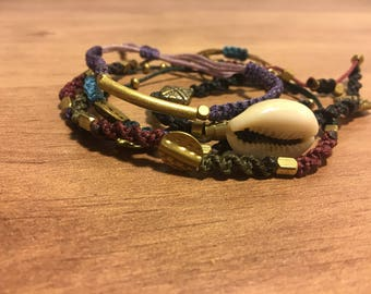 Hand-Made Macramé-Brass Bracelet, Multi-Colored