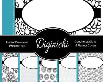 Turquoise, Black, White 03 - Digital Covers for Goodnotes Digital Planners and Journals - PNG & Printable