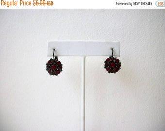 ON SALE Vintage 1950s Dark Metal Red Rhinestones Earrings 51117