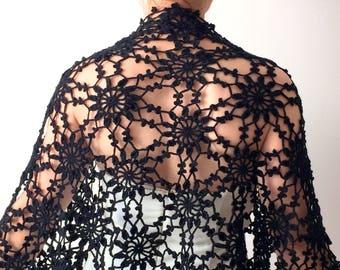 Black wrap, crochet black shawl, evening shawl, wedding wrap, bridal shawl, winter wedding, warm wool shawl, ready to ship, fast shipping
