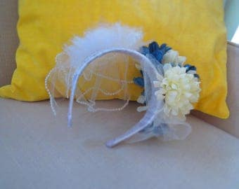 Blue and Cream Bridal Fascinator with Veil