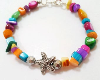 Starfish bracelet, colorful shell bracelet, starfish jewelry, shell bracelet, colorful bracelet, shell jewelry, ocean bracelet