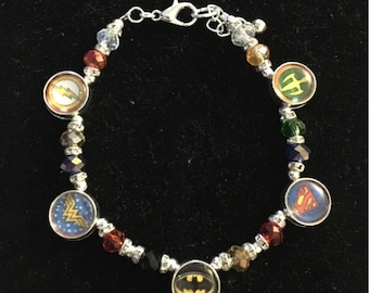 Silver Plated & Swarovski Crystal Justice League Bracelet