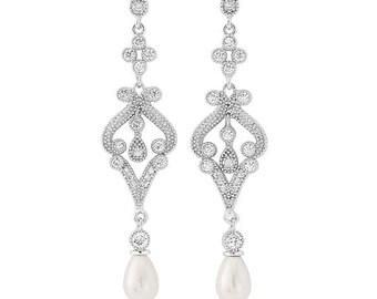 Glam Vintage style Ivory Droplet Pearl Earrings, bridal ear rings, prom earrings, bridal accessories, bridal jewellery