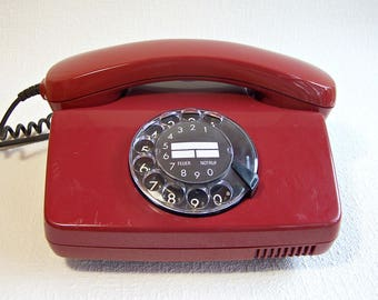 Vintage Rotary Phone TELEKOM DBP. Cherry Red Phone Made in Germany. Retro Working Phone. Old Desk Telephone. Collectible Phone.