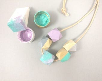 Unicorn Necklace - Silver, Mint Pastel Pink | Statement Necklace | Gift for her | Geometric Jewellery | Unicorn | Geometric necklace | Ombre