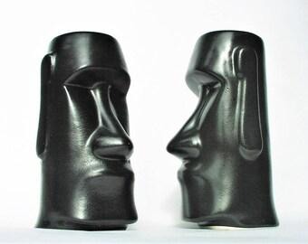 "Tiki Room Man Cave Easter Island Mai Tai Ceramic Tumbler Heads - Black Color Primitive Aboriginal Pair Tall Cups Drink Glasses Barware 7""x4"""