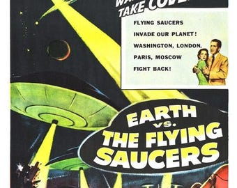 Summer Sale EARTH Vs. The FLYING SAUCERS Movie Poster 1956 Sci-Fi Aliens