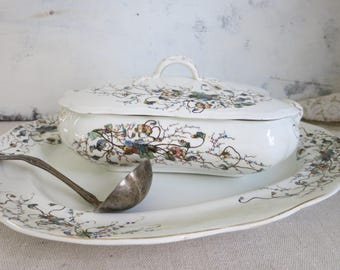 Antique Platter and Covered Serving Dish 1800's English China G. W. Turner and Sons Tunstall, England Gift for Home