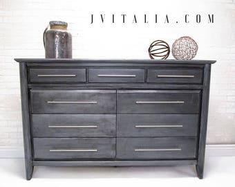 Industrial Zinc Metal Hand Painted Finish Modern Dresser