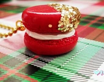 Red Macaron Charm, Glitter Macaron, Glitter Charm, Gold Glitter, Macaron Charm, Planner Charm, Macaron Planner Charm, Christmas Charm