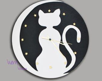 clock white cat on Moon