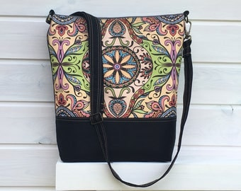 Colorful Canvas Messenger bag, Mandala Diaper Bag, Baby Changing Bag, City Bag, Everyday Bag, Mothers Day Gift, gift for college student