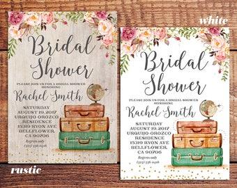 Wanderlust invite Boho Bridal Shower Invite Romantic Bridal Party invite, Luggage bridal shower, rustic travel themed bridal shower invite