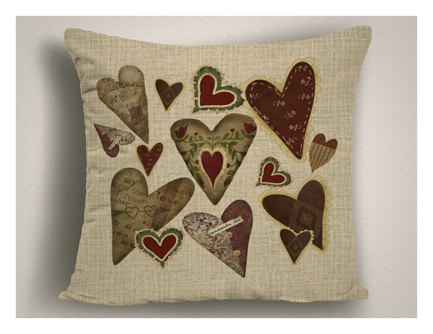 Country Decor Pillow, Farmhouse Hearts Pillow Covers, Rustic ...