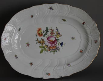 """Herend Bouquet Of Flowers Multicolor 16"""" Oval Service Platter # 1101 BHR"""
