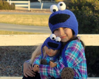 """American Girl Doll and Me Matching hats, Cookie Monster hat, 18"""" American Girl Doll hat, My Doll and Me matching Cookie Monster Hats"""