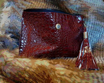 Crocodile Burgundy Clutch (Faux Leather)