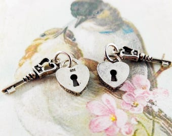 """1Pc """"A Key to my Heart"""" 925 stamped sterling silver heart and key charm, Sterling silver heart charm, Silver key charm, Romantic charm #E18"""