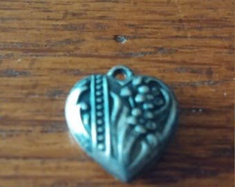 Antique Silver Puffy Heart Pendant