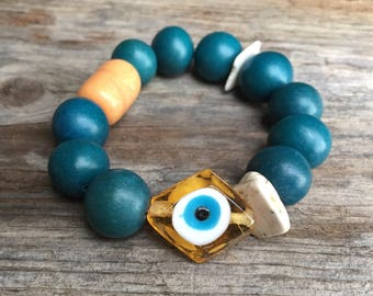 Vintage Glass Amber Evil Eye Wood Magnesite & Vintage Trade Bead Protection Bracelet