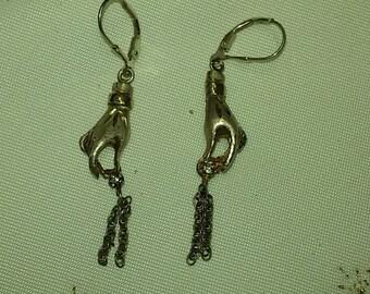 Vintage 925 Silver  Leverback Hand Earrings