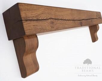 Rustic Oak Beam   Fireplace Mantel & Corbels   Rugger Brown
