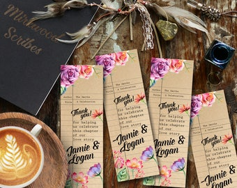 Literary Shower Favor Bookmark, Custom Floral Library Card Bookmark, Book Themed Shower Favors