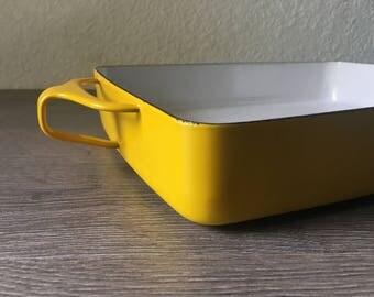 Dansk Kobenstyle Enamel Baking Pan - Danish Modern Quistgaard Designed Yellow Enamelware 13 x 10, Danish Modern