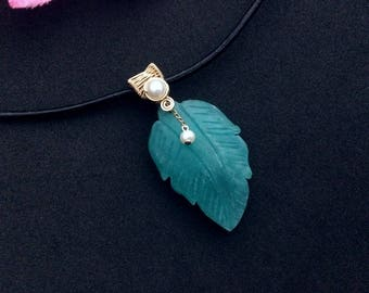 Gold Filled Wire Wrapped Carved Two Sided Blue Amazonite Leaf & Pearl Pendant with Black Leather Cord Necklace