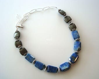 Natural Abstract Lapis Lazuli Nuggets and Pyrite with Sterling Silver Beaded Necklace