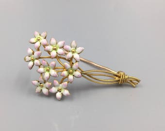 Victorian 14K Pink Forget Me Not Bouquet Pin - Vintage 1860s Antique 14K Pink Enamel Floral Bouquet Pin, Something Old, Wedding Gift BRO3250