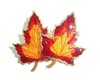 "Autumn Maple Leaves Brooch. Vintage brooch has a autumn motif with the reds, golds and browns of Autumn. 1.25"" across in good used condition"