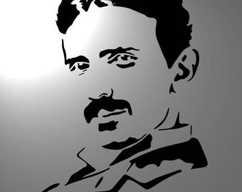 stencil  Nikola Tesla made on order , new sorce of energy , revolution , Rebel ,