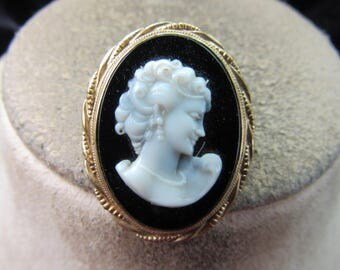 Antique Goldtone & Faux Cameo Pin