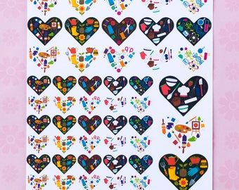 Hobby Heart Stickers for your ECLP, Happy Planner, Filofax or PPP - 73 Stickers