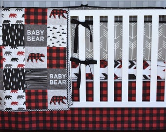 Gray Arrows and Bear Crib Bedding, Lumberjack bedding, woodland nursery, red buffalo plaid, red and black , quilt, bumpers, deer, skirt