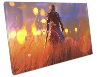 print on canvas knight warrior standing with sword in field - X1107