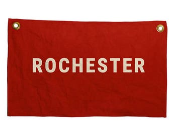 Rochester Mini Banners, baseball flags, pennants, sports banners, city flags, custom flag,  custom banners, baseball banners, man cave decor