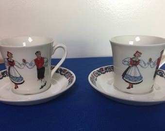 Figgjo Flint of Norway Folk Dancer Cup and Saucers, Set of Two