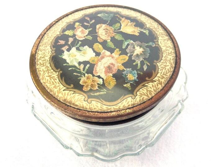 """Regent of London, Art Deco Powder Box, Glass Powder Pot, Lidded Powder Jar, Trinket Pot, Black Floral Lid 4.5"""" x 2.5"""""""