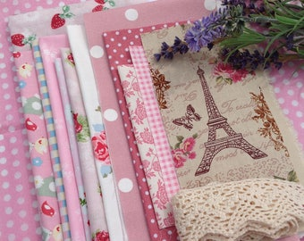 Pink cotton fabric remnants,pink fabric scraps, fabric pieces, fabric bundle, craft fabric, pink fabric, pink fabric bits,