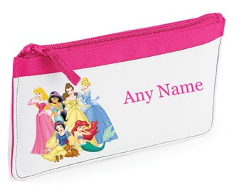 Personalised Princess/Princesses Style Pencil Case *Pink/Blue/Red/Black* Cinderella/Belle/Snow White/Sleeping Beauty/Arial