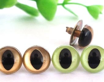 40pcs  12mm  Handmade safety cat eyes,doll accessories,toy safety cat eyes,animal eyes-gold/green color