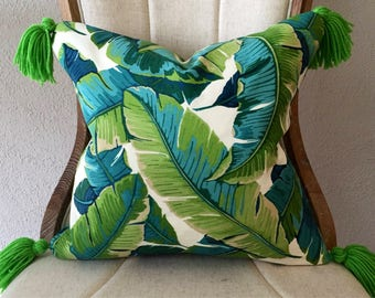 Palm + Pick your Tassel or Pom Patiogirl Pillow Cover