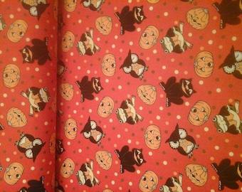 Halloween Fabric Pumpkins Owls Black Cats Frogs 1 Yard Cotton