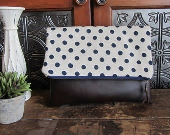 Large Fold Over Clutch Bag - Navy Dots with Brown Vegan Leather Bottom, Foldover Zipper Clutch, Navy Dots Clutch Bag
