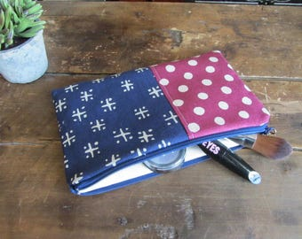 Make-up or Pencil Bag, Navy and Burgundy Dots, Zipper Storage Bag, Fabric Make Up Bag, Long Rectangle Make Up Bag