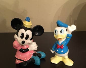 Vintage Minnie mouse and Donald Duck figurines made in Japan