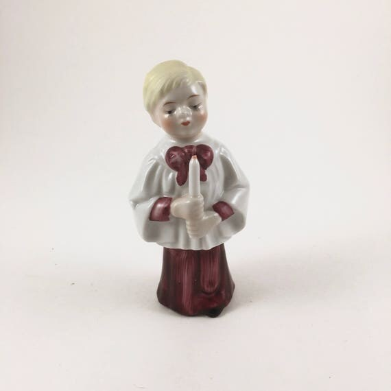 Vintage Ceramic Christmas Carolers Choir Boy And Girl: Choir Boy Christmas Figurine Vintage Holiday Decor Mid